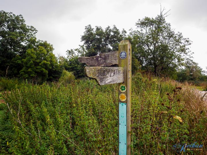 "The Avon Valley Path sign (the green one that looks like an ""M"")"
